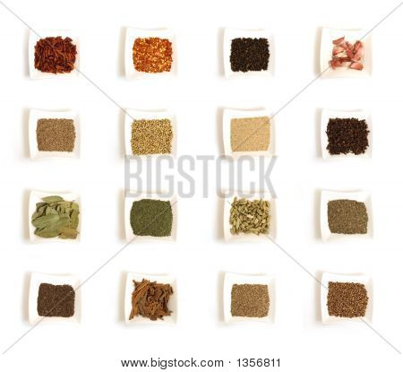 Various Kinds Of Spices In White Square Bowl