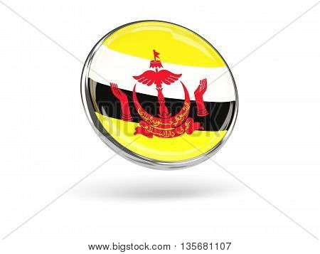 Flag Of Brunei. Round Icon With Metal Frame