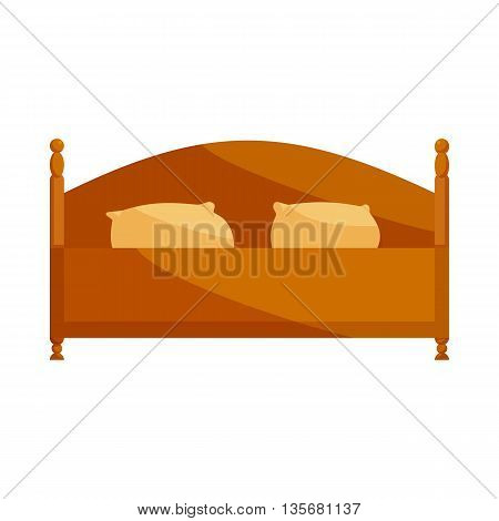 Wood double bed icon in cartoon style on a white background