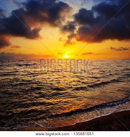 nice evening scene with sunset on sea