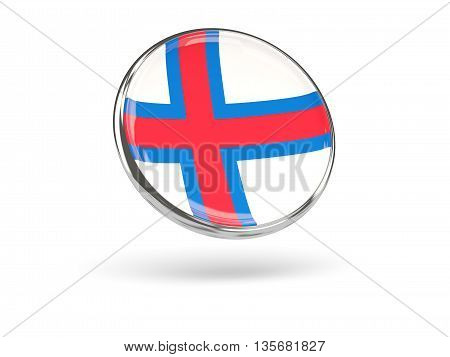 Flag Of Faroe Islands. Round Icon With Metal Frame