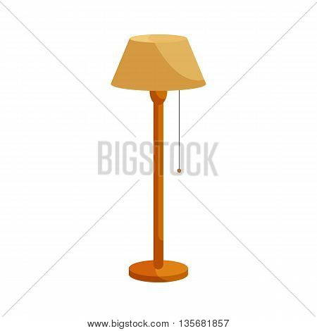 Floor lamp icon in cartoon style on a white background