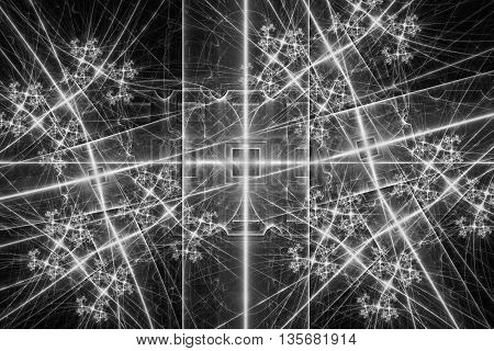 Black and white glowing pattern, abstract art for background