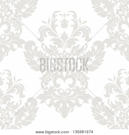 Vector floral damask ornament pattern. Stylized lily flower. Elegant luxury texture for textile fabrics or backgrounds. Olive green lint color