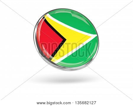 Flag Of Guyana. Round Icon With Metal Frame