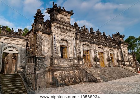 Facade Of The Thien Dinh Palace In Khai Dinh Tomb, Hue, Vietnam