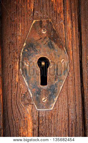 old keyhole on vintage door