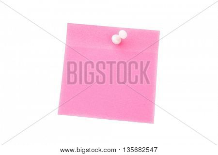 Digital image of pushpin on pink paper over white background