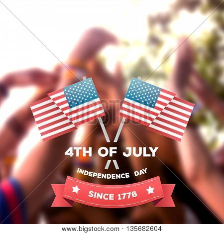 Independence day graphic against music fans with their hands up