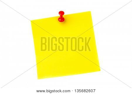 Illustrative image of pushpin on yellow paper over white background