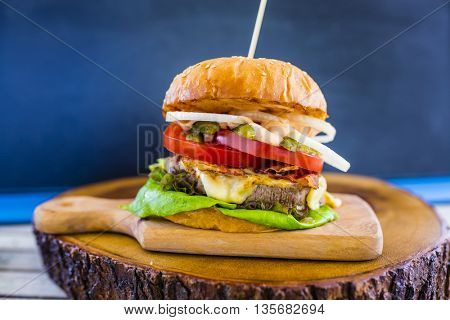 Hamburger with beef and fresh vegetables