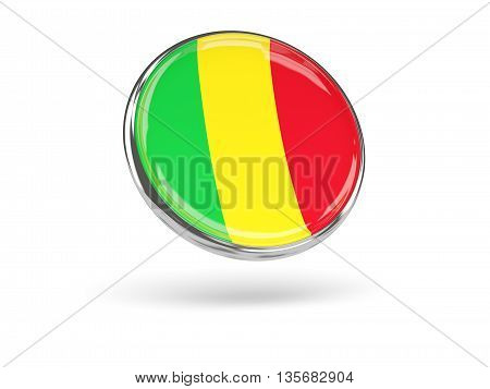 Flag Of Mali. Round Icon With Metal Frame