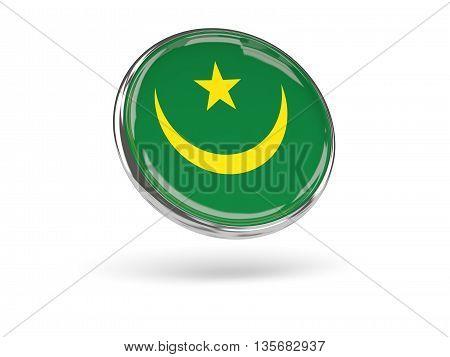 Flag Of Mauritania. Round Icon With Metal Frame