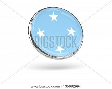 Flag Of Micronesia. Round Icon With Metal Frame