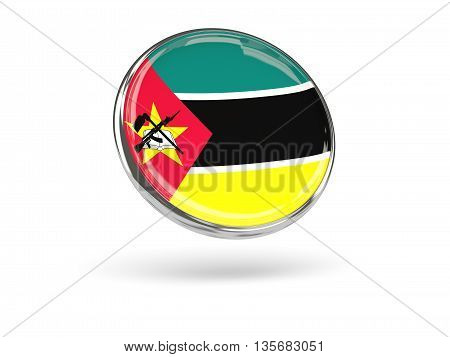 Flag Of Mozambique. Round Icon With Metal Frame