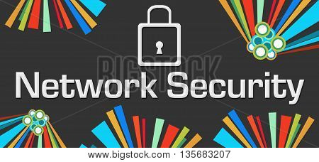 Network security text written over dark colorful background.