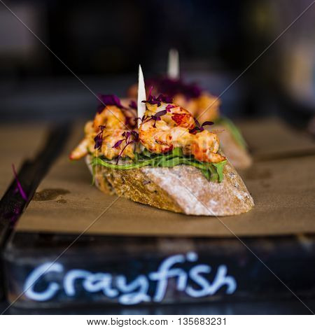 Crayfish, schrimps, sandwich, apetizer