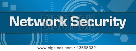 Network security text written over abstract blue background.