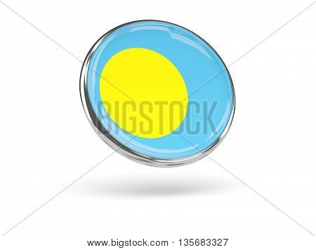 Flag Of Palau. Round Icon With Metal Frame