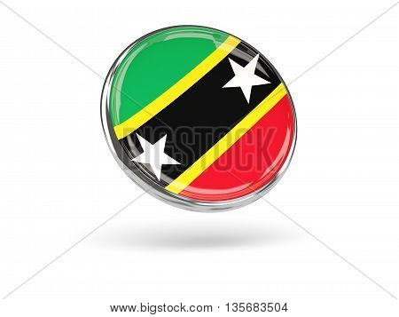 Flag Of Saint Kitts And Nevis. Round Icon With Metal Frame