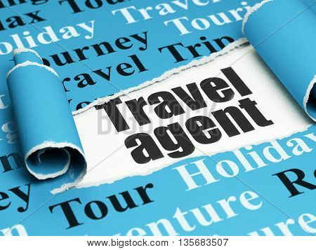 Vacation concept: black text Travel Agent under the curled piece of Blue torn paper with  Tag Cloud, 3D rendering