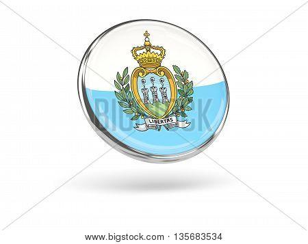 Flag Of San Marino. Round Icon With Metal Frame