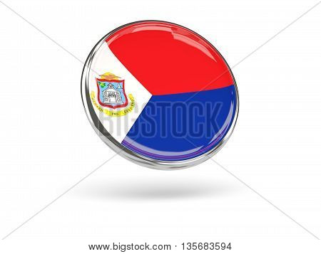Flag Of Sint Maarten. Round Icon With Metal Frame