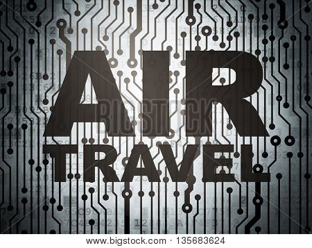 Travel concept: circuit board with  word Air Travel, 3D rendering