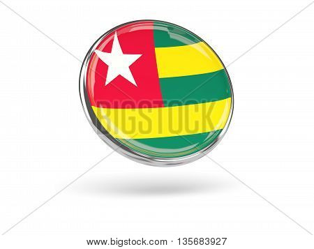 Flag Of Togo. Round Icon With Metal Frame