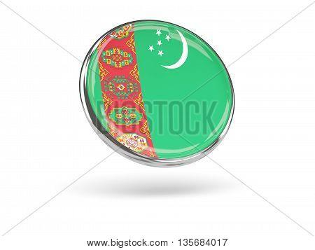 Flag Of Turkmenistan. Round Icon With Metal Frame