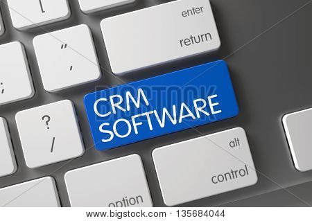 Aluminum Keyboard with the words Crm Software on Blue Button. Crm Software Key. White Keyboard with Hot Key for Crm Software. Key Crm Software on Slim Aluminum Keyboard. 3D.