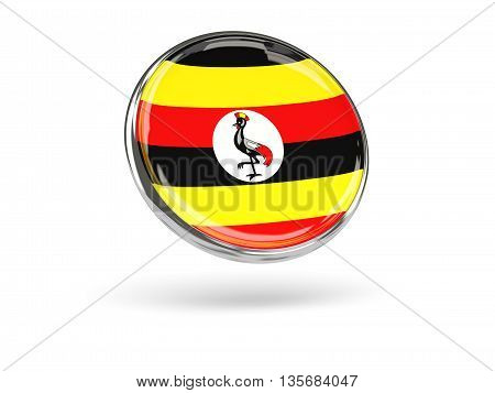 Flag Of Uganda. Round Icon With Metal Frame