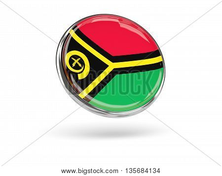 Flag Of Vanuatu. Round Icon With Metal Frame