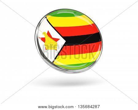 Flag Of Zimbabwe. Round Icon With Metal Frame