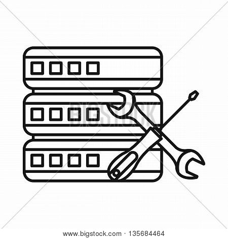Database with screwdriver and spanner icon in outline style on a brown background