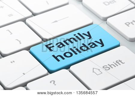 Tourism concept: computer keyboard with word Family Holiday, selected focus on enter button background, 3D rendering
