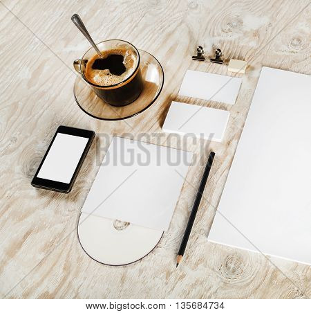 Blank stationery set on wooden table background. Blank corporate identity template. Blank branding mock-up. Mock-up for your design.