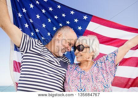 Senior couple holding american flag together on beach
