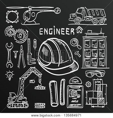 Chalkboard sketch Icons Engineer drawing style. Engineer icons set. Engineer icons. Vector illustration