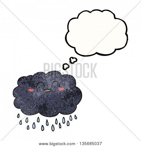 freehand drawn thought bubble textured cartoon raincloud