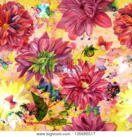 A seamless background pattern with watercolor dahlias and butterflies and plant silhouettes on an abstract grunge background texture with splashes of paint of various colors