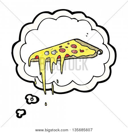 freehand drawn thought bubble textured cartoon pizza
