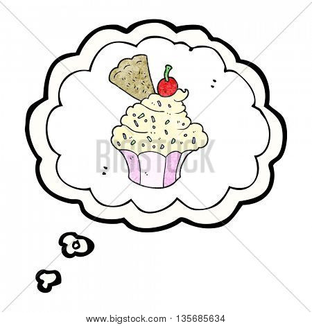 freehand drawn thought bubble textured cartoon cupcake