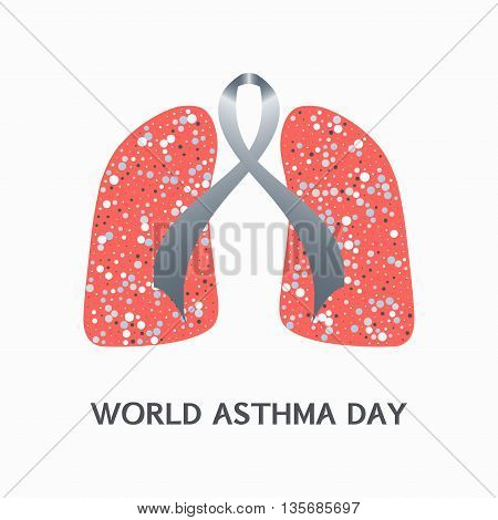 Asthma awareness sign. Asthma concept with grey ribbon and lungs icons on white background. Bronchial asthma solidarity day. Vector illustration.