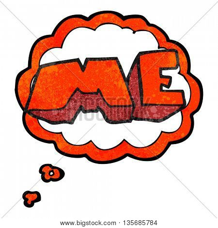 freehand drawn thought bubble textured cartoon ME symbol