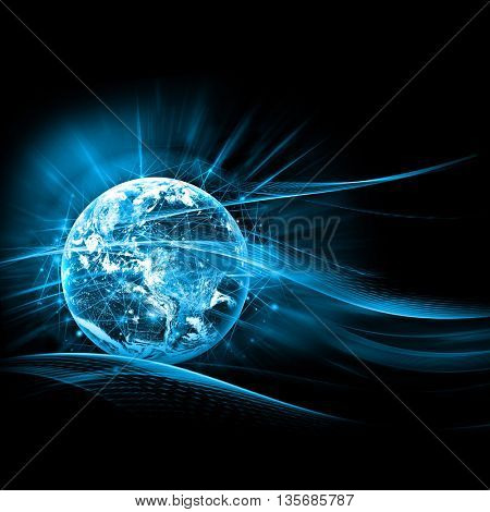 Best Internet Concept of global business. Globe, glowing lines on technological background. Electronics, Wi-Fi, rays, symbols Internet, television, mobile and satellite communications. Elements of