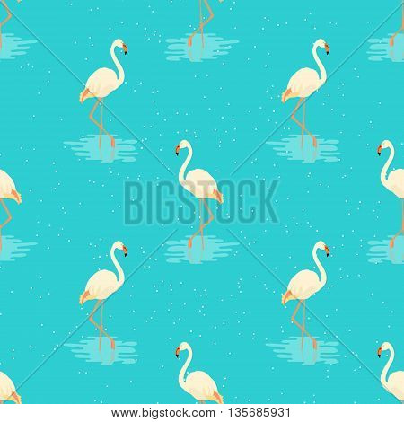 Seamless pattern of white flamingos standing in water on one leg. Vector illustration of exotic birds. Flat flamingo bird symbol. Flamingo silhouette isolated on blue background. Wildlife concept.