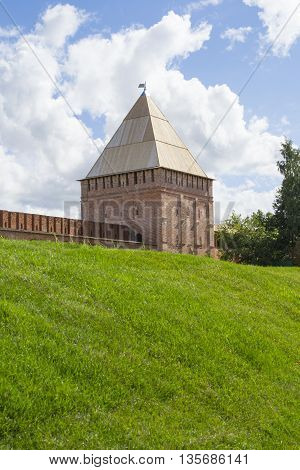 Smolensk Russia - September 02 2013 - Smolensk fortress wall with the Avraamiev gates