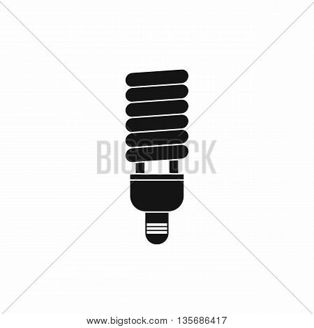 Fluorescent bulb icon in simple style isolated on white background