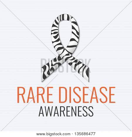Rare disease awareness sign. Zebra-print ribbon on white background. Black and white stripped zebra ribbon is a symbol of Carcinoid, Ehlers-Danlos syndrome and rare diseases. Vector illustration.